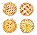 Set of home made pies, watercolour illustration