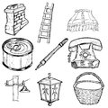 Set of home related illustration hand drawn sketch Royalty Free Stock Photography