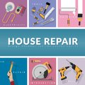 Set of home repair working tools vector logo design template Royalty Free Stock Photo