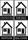 Set home for sale construction and mortgage icon services Royalty Free Stock Images