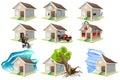 Set homes misfortune house insurance property insurance on white vector illustration Stock Photo