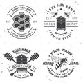 Set of Honey bee farm badge. Vector. Concept for shirt, stamp or tee. Vintage typography design with bee, hive and bear