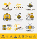 Set of honey bee logo and labels for honey products.