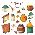 Set of honey elements. Apiary icons for your design. Vector sketches, sweet natural food