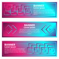 Set of horizontal abstract gradient banners