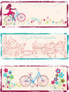 Set of horizontal art illustrations with girl on bike flowers and fairy town Royalty Free Stock Images