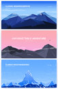 Set of horizontal background with mountains. mountaineering concept with place for text. Banner in cartoon, flat style