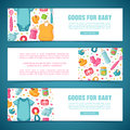 Set horizontal banners with childhood`s patterns. Newborn staff for decorating flyers. Design templates for card