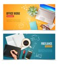 3D Office Objects Banners