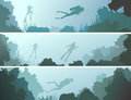 Set horizontal banners of divers under water.