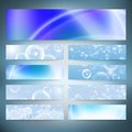Set of horizontal banners. Drops in the blue water Royalty Free Stock Photo
