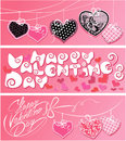 Set of horizontal banners happy valentine s day calligraphic elements holiday cards with hearts and handwritten text Stock Image