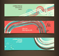 Set of horizontal banners headers editable desig design template eps vector transparencies used Royalty Free Stock Photos