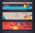 Set of horizontal banners headers editable design template eps vector transparencies used Stock Photos