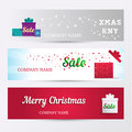 Set of horizontal banners. Holiday Sale background with stylized word Sale, of christmas symbols on a gift box