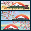Set of horizontal banners japanese style beautiful in with sakura blossom cherry tree vector background vector Royalty Free Stock Photo