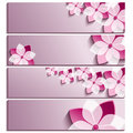 Set of horizontal banners purple with blossoming sakura