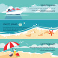 Set of horizontal banners with seaside and starfish vector illustration Stock Photography