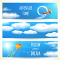 Set of Horizontal Banners with Sky. Royalty Free Stock Photo