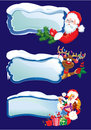Set of horizontal banners with snowdrifts and icic icicles santa claus reindeer sexy girl peeking round from behind glossy Stock Photo