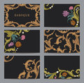 A set of horizontal business cards vintage in Baroque style. Royalty Free Stock Photography