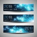 Set of Horizontal Christmas, New Year Headers or Banners Design - 2018 Royalty Free Stock Photo