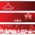 Set of horizontal christmas vector red banners Stock Photography