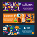 Set of horizontal happy halloween banners vector illustration cute icons funny and creepy colorful theme for your design prints Royalty Free Stock Photo