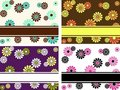 Set of horizontal retro banners with large flowers Royalty Free Stock Photos