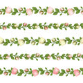 Set of horizontal seamless garlands with pink and white flowers. Vector illustration. Royalty Free Stock Photo