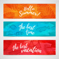 Set of horizontal summer banners with fish, leaf, swimsuit Royalty Free Stock Photo