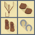 Set of horse gear in flat style Royalty Free Stock Photo