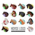 Set of Horse Logo Flat Style illustrations Royalty Free Stock Photo