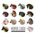 Set of Horse Logo Flat Style illustrations Royalty Free Stock Photo