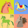 Set Horses, year of the horse, toy horse rocking chair for children. Vector. Royalty Free Stock Photo