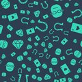 Set Horseshoe, Poker player, Diamond and Playing card with heart on seamless pattern. Vector Royalty Free Stock Photo