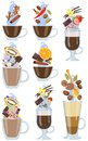 Set of hot coffee drinks with spicy additives. Vector illustration.