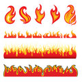 Set of hot fire design elements Stock Photo