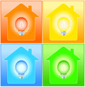 Set house and bulb on background colorful with Royalty Free Stock Image