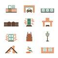 Set of  house elements isolated