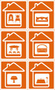 Set house icon with furniture silhouette on screen Stock Images