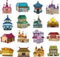Set of house icons cartoon vector illustration Stock Photo