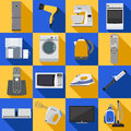 Set of household appliances and electronic devices icons vector illustration Stock Photos