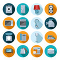 Set of household appliances flat icons on colorful round web buttons with a washing machine stove fridge speaker iron microwave Stock Photo