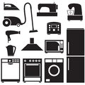 Set of household appliances silhouette images Stock Photo