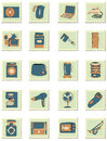 Set household appliances stamps Stock Photo