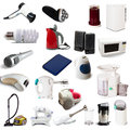 Set of household appliances on white background with shade Stock Photo