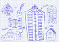 Set of houses hand drawn Stock Photos