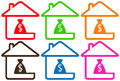 Set houses with money bag colorful silhouette Royalty Free Stock Photos