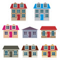 Set of houses on a white background Royalty Free Stock Photo